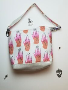White shoulder bag with pink hand fabric and contrast white glitter vinyl